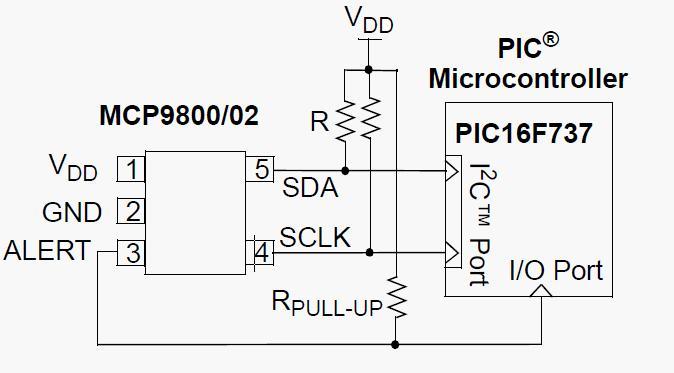 Схема включения MCP9800.